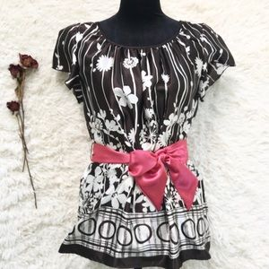 AGB Brown & Pink Silky Floral Blouse w Ribbon Belt